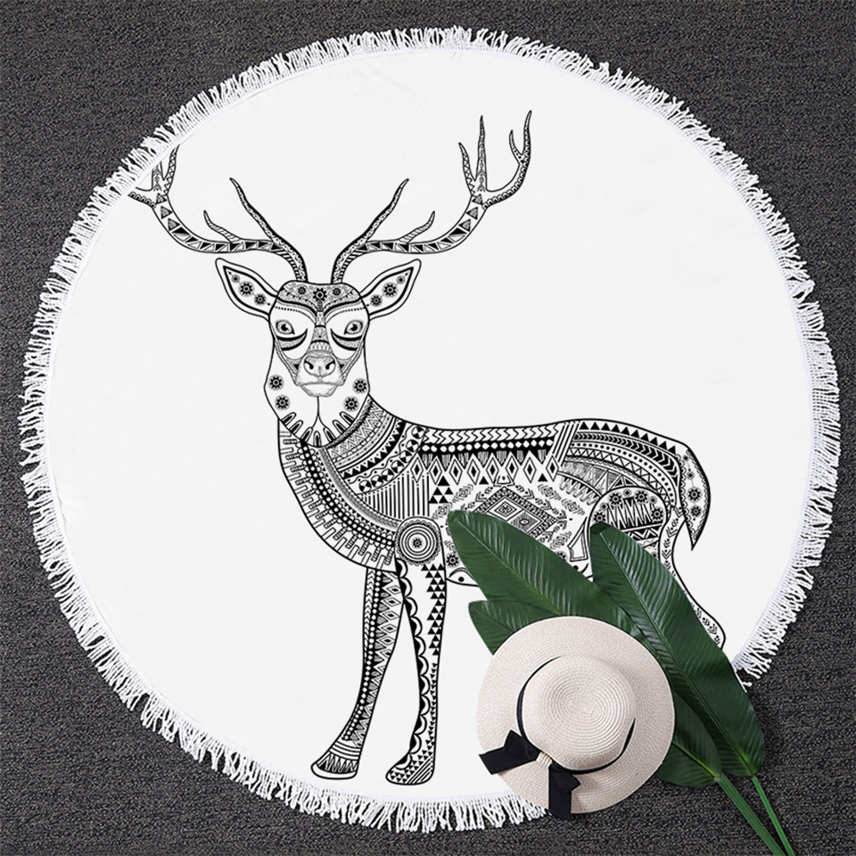 Us 14 2 38 Off Retro Aztec Inspired Round Beach Towel Black And White Yoga Mat Geometric Abstract Deer Microfiber Bath Towels 150cm In Bath Towels