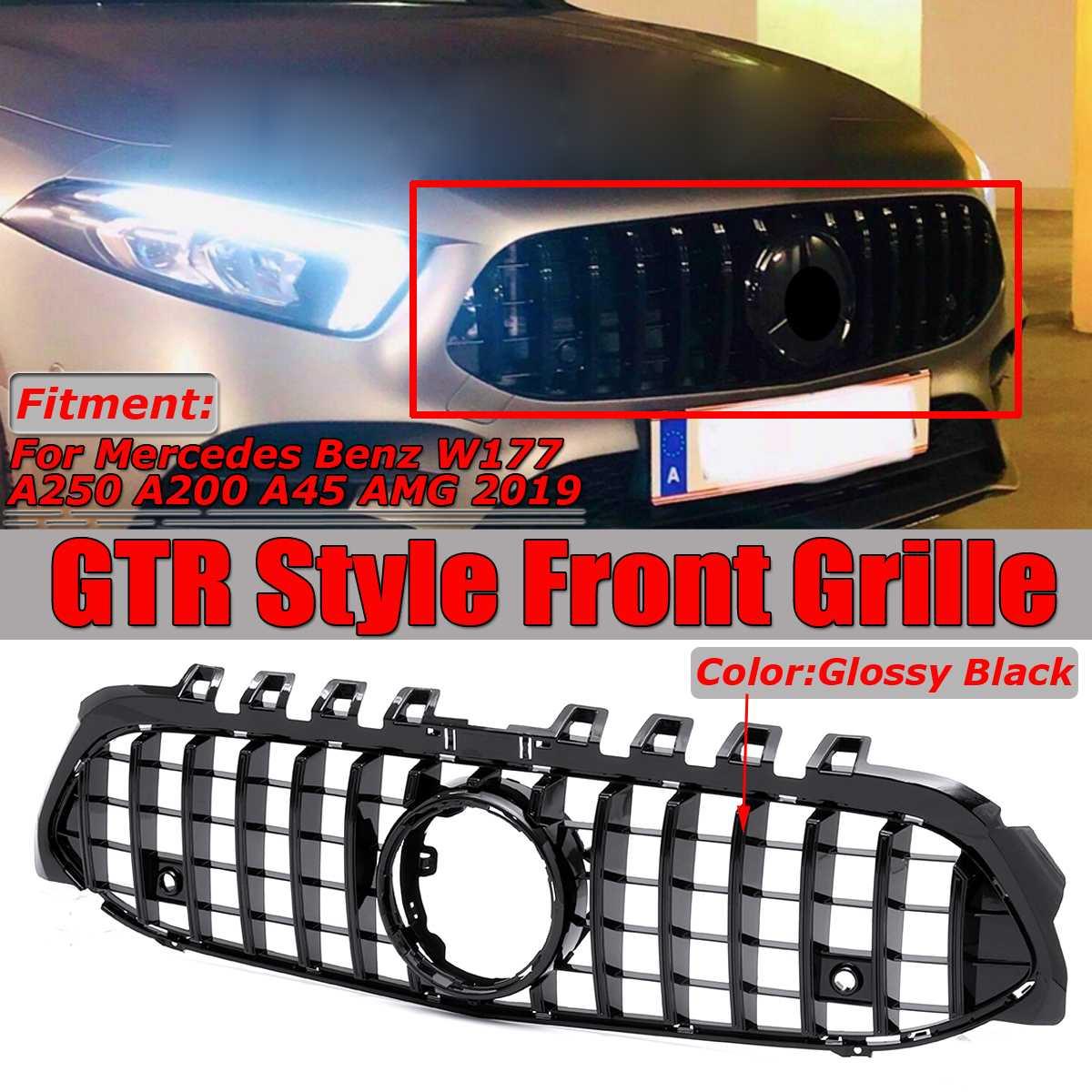 Preto brilhante GT R GTR Estilo Frente Car Grille Grill Cobrir Guarnição Para A Mercedes Benz Para W177 A250 A200 A45 para AMG 2019 Corrida Grelha