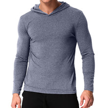 Autumn Men Hooded T Shirt Long Sleeve Muscle Casual Male Tee Tops 2019 Workout Solid Slim Fit T-shirt Men Camisetas Hombre S-3XL