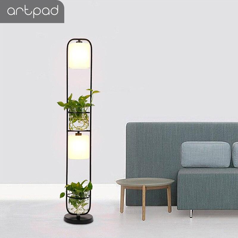 Здесь можно купить  Artpad Modern White/Black/Golden Decoration Plant Iron Floor Lamp Led Fabric Lampshade Living Room Bedside Study E27 Floor Light  Свет и освещение