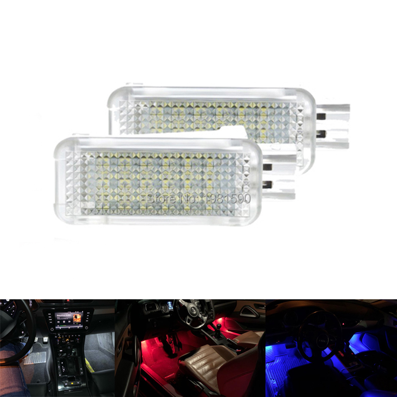2pcs <font><b>led</b></font> car footwell pathway <font><b>light</b></font> for Audi A3 A4 A5 A6 Volkswagen <font><b>Golf</b></font> <font><b>4</b></font>/5/6 Skoda Octavia Fabia White blue Red image