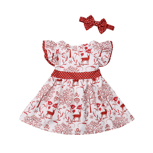 66738aaf47fb Christmas Toddler Kids Baby Girls Deer Bowknot Pageant Party Formal Dress