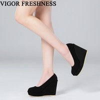 VIGOR FRESHNESS Women Shoes High Heels Pumps Spring Wedges Shoes Autumn Woman Pumps Platform Shoes Lady Sweet Candy Color MY122