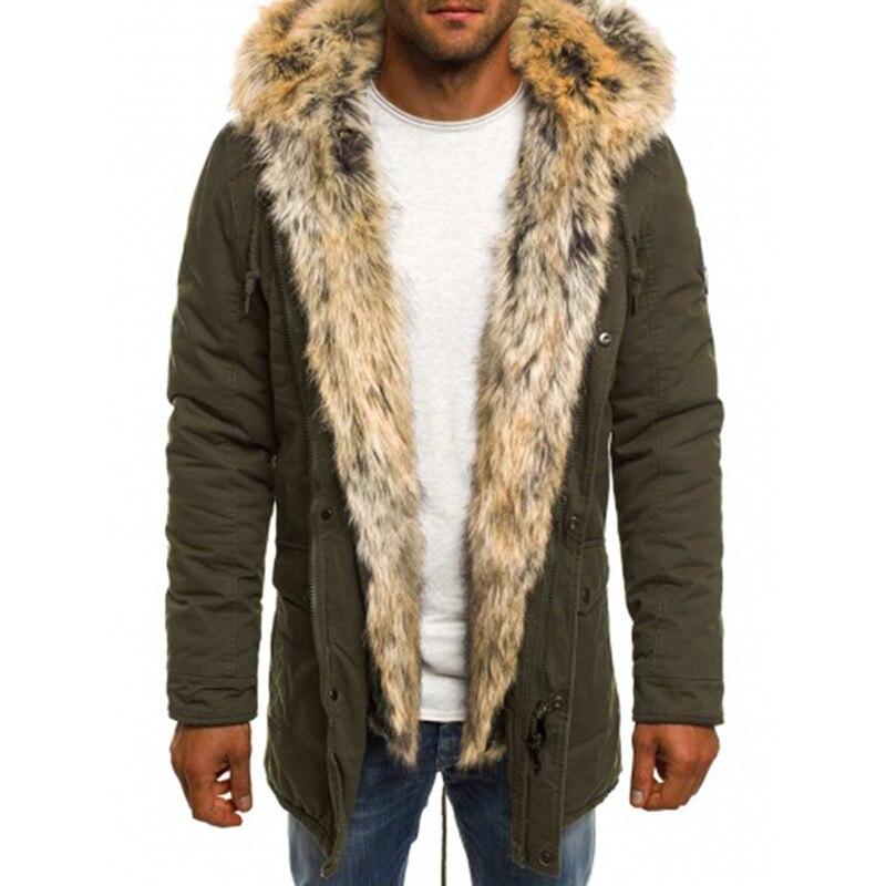 Hiver hommes Parka coupe-vent fourrure à capuche noir armée vert bleu foncé mode Cool Zipper chaud hommes Parka veste manteaux grande taille