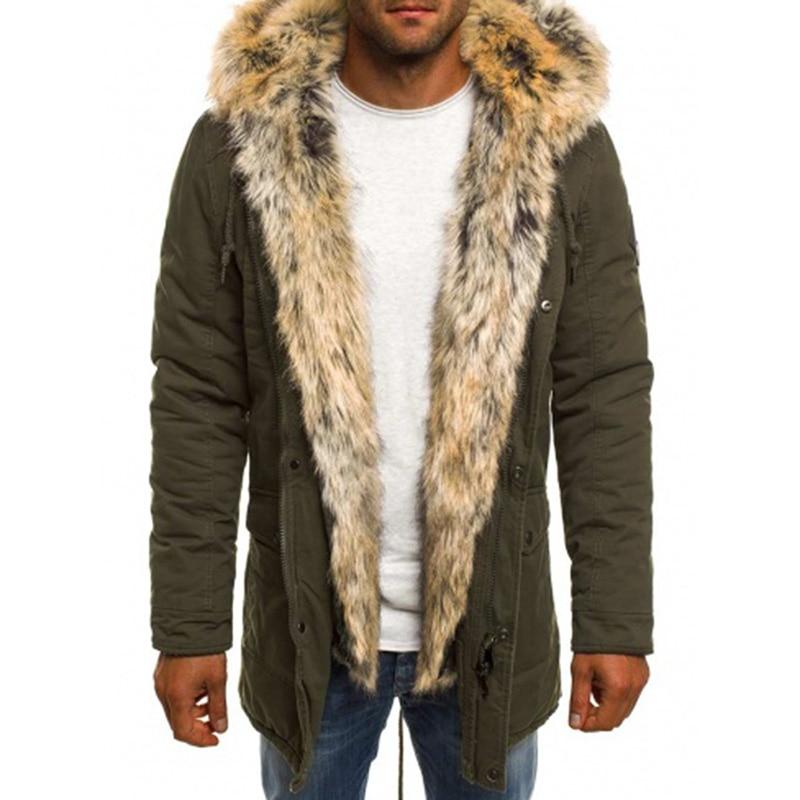 Winter Men Parka Windproof Fur Hooded Black Army Green Dark Blue Fashion Cool Zipper Warm Men Parka Jacket Coats Plus Size