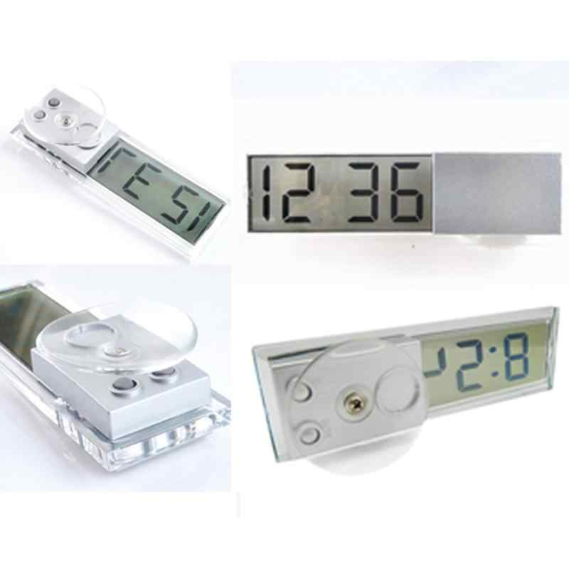 Mini Digital LCD Display Auto Car Electronic Transparent Clock Schedule with Sucker for Home Automotive Interior Accessories New