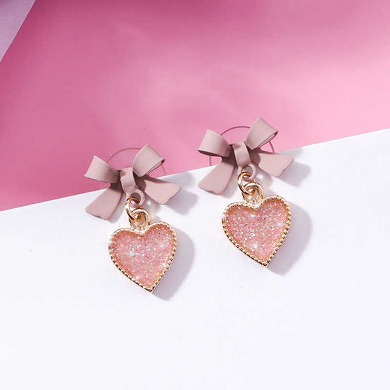 Sale Korean New Pink Sweet Bowknot Drop Earrings For Women crystal Hearts Girls Gifts Fashion Jewelry