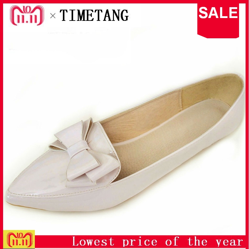 TIMETANG Sweet Bowtie Women Flat Shoes Spring Nude Female Flats Extra Big Size 33-43 Autumn Ladies Shoes Patent Leather C092 2015 hot sale new spring autumn women flats sweet bowtie casual fashion ladies wedding shoes