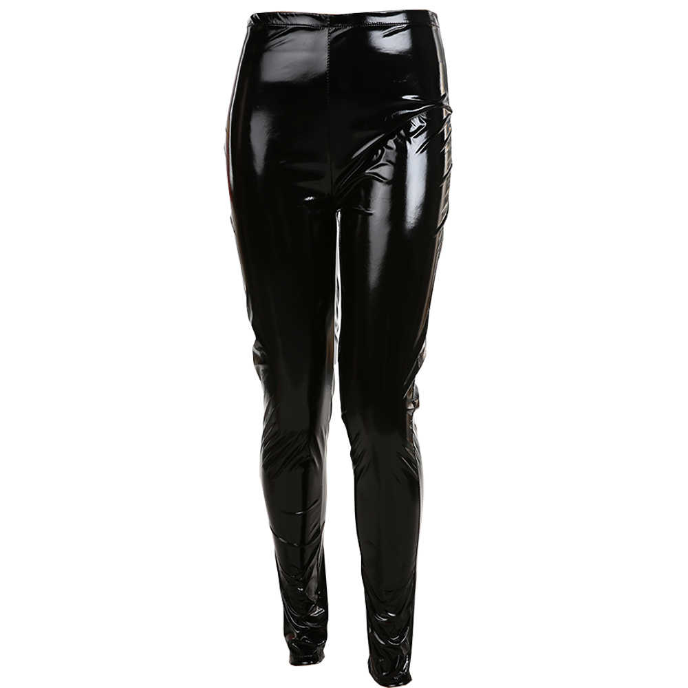 54a10160ad2e3 S-3XL Plus Size wet look Leather Leggings Women High Waist Leggings Stretch  Slim red Black Legging Fashion PU Pants Women