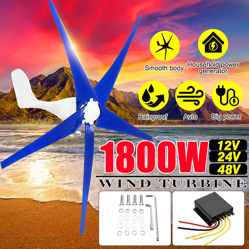 1800W 12/24/48V Wind for Turbine Generator 3/5 Wind Blades OptionWind Controller Gift Fit for Home +Mounting accessories bag
