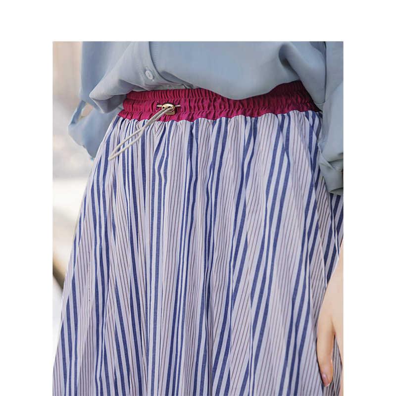 INMAN jesień wysokiej talii szczupła Retro w paski na co dzień wszystko dopasowane luźne linii kobiet spódnica