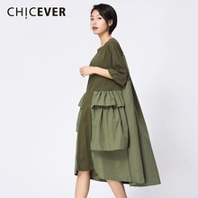 CHICEVER Patchwork Dresses For Women O Neck Half Sleeve Loose Oversize Black Midi Dress Female Fashion Casual Clothes New