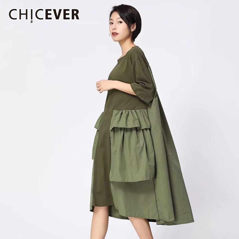 CHICEVER Patchwork Kleider Für Frauen O Ansatz Halbe Hülse Lose Oversize Schwarz Midi Kleid Weibliche Mode Casual Kleidung Neue