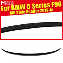 M5 F90 Rear Trunk Spoiler Wing Lip Carbon Fiber For 5-Series F90 AEM5-Style Black Rear Boot lip Wing Tail Auto Car Styling 2019+ цена