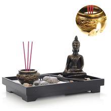 Buddha Statue Zen Garden Sand Meditation Peaceful Relax Decor Set Tray Kit Incense Burner Feng Shui