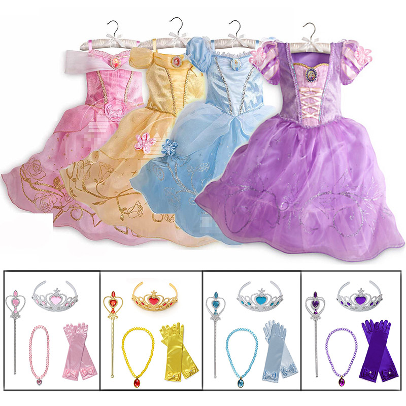 Little Girls Princess Rapunzel Cinderella Sleeping Beauty Belle Dress Up Costume With Accessories Kids Elsa Anna Jasmine Cosplay(China)