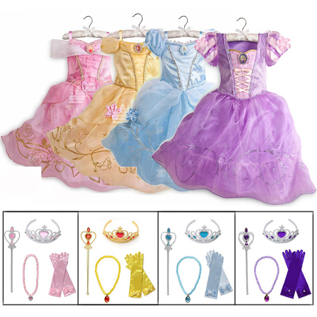 Little Girls Princess Rapunzel Cinderella Sleeping Beauty Belle Dress up Costume with Accessories Kids Elsa Anna Jasmine Cosplay