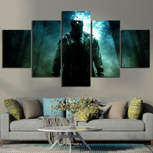 5 Piece Fantasy Art Friday The 13th Horror Movie Poster Jason Voorhees Pictures Canvas Paintings Wall Art for Home Decor friday the 13th character jason voorhees vinyl cute figure model doll toys