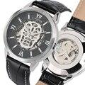 Роскошные автоматические механические часы с автоподзаводом кожаный черный ремешок механические часы бизнес-стиль часы мужские подарки