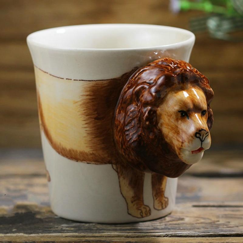 3D Stereo Lion Coffee Mug Creative Ceramic Cup Hand-painted Animal Cartoon Coffee Cup Personality Handle Birthday Gift Cup