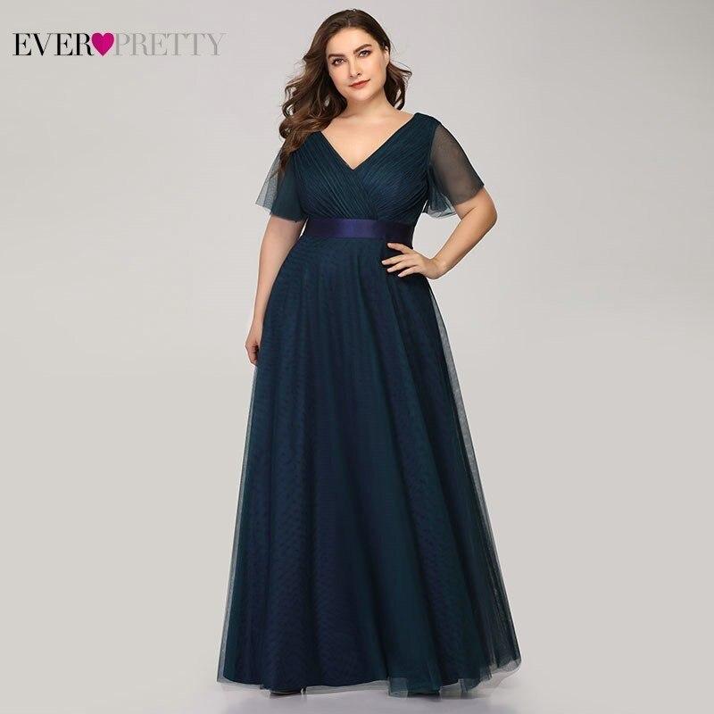 Вечерние платья больших размеров Ever Pretty EP07962 A-Line с v-образным вырезом и коротким рукавом женские длинные платья для официальных приемов, веч...