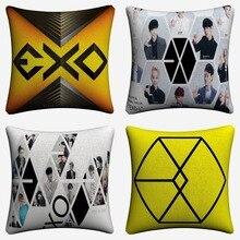 EXO Kpop Logo Figures Design Decorative Cotton Linen Cushion Cover 45x45cm Throw Pillow Case For Sofa Home Decor Almofada цены