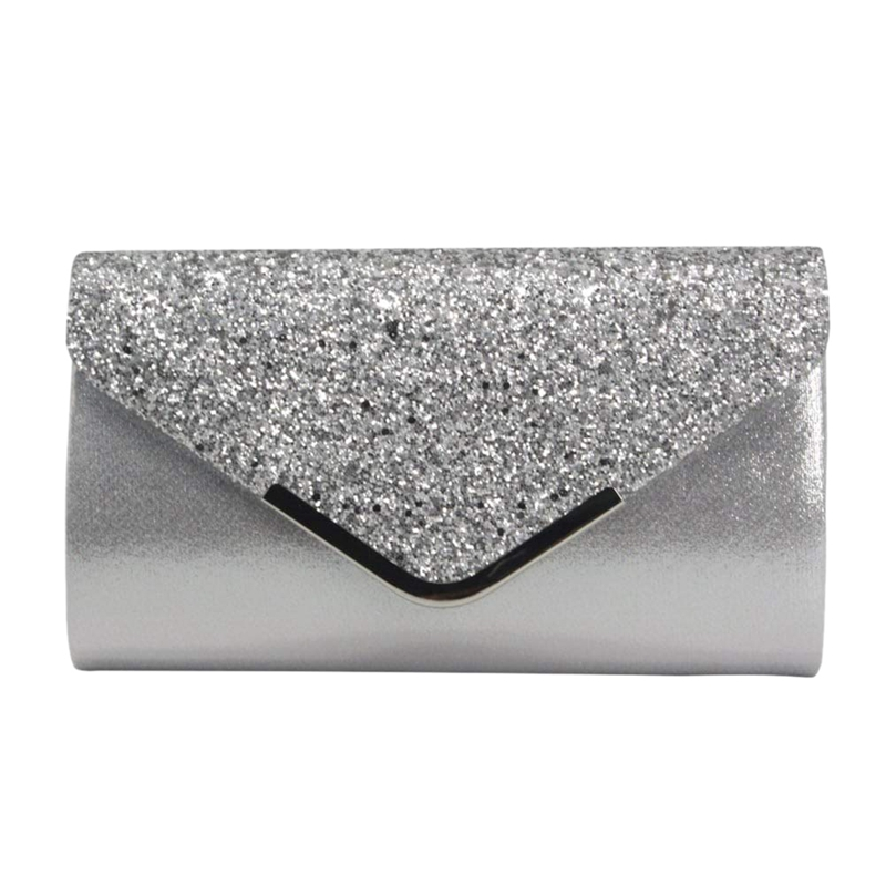 Envelope Clutch Purse Shoulder-Bag Party Handbag Evening-Bag Glittered Silver Shiny Women