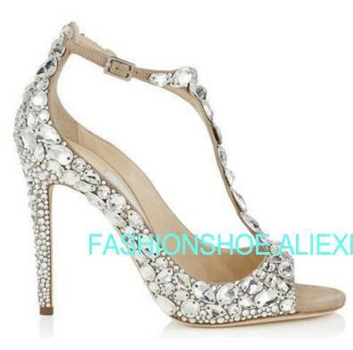 Fashion Crystal Wedding Party Shoes Thin high heels Peep toe Spring Summer Women Summer Sandals