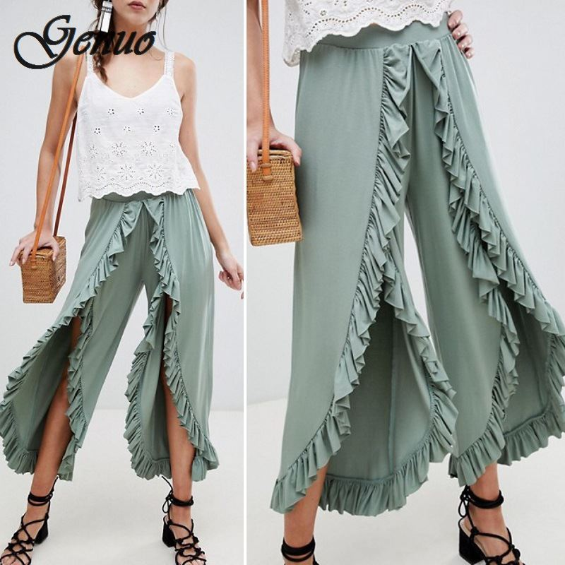Sexy ruffle split wide leg casual   pants     capri   Vintage high waist summer   pants   women Retro ladies trousers female 2019