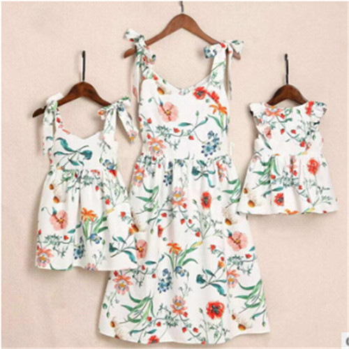 2019 Summer Family Dress Mother And Daughter Matching Girl Daughter Outfits Dresses Mom And Daughter Matching Clothes Cotton(China)