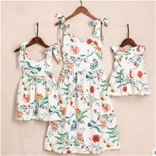 Летнее семейное платье, одинаковые комплекты для мамы и дочки, платья для мамы и дочки, Одинаковая одежда из хлопка для мамы и дочки