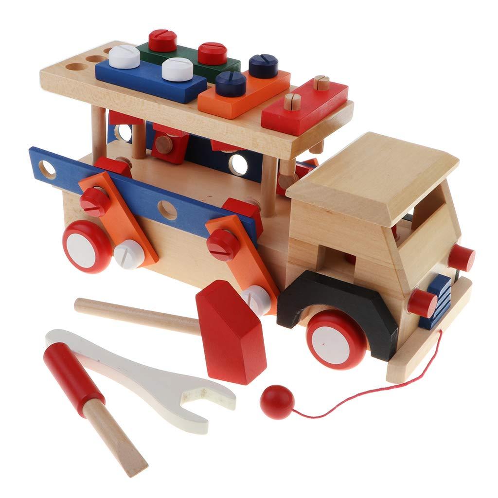 Blocs de Construction en bois jeu de Construction de voiture Coordination œil-main jouets éducatifs cadeau d'anniversaire pour enfants enfants en bas âge - 5