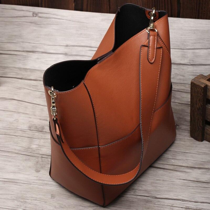 2019 bolso de mano de cuero genuino Real de las mujeres bolso de mano de cubo negro de lujo de las marcas famosas señoras hombro marrón bolso de diseñador - 6
