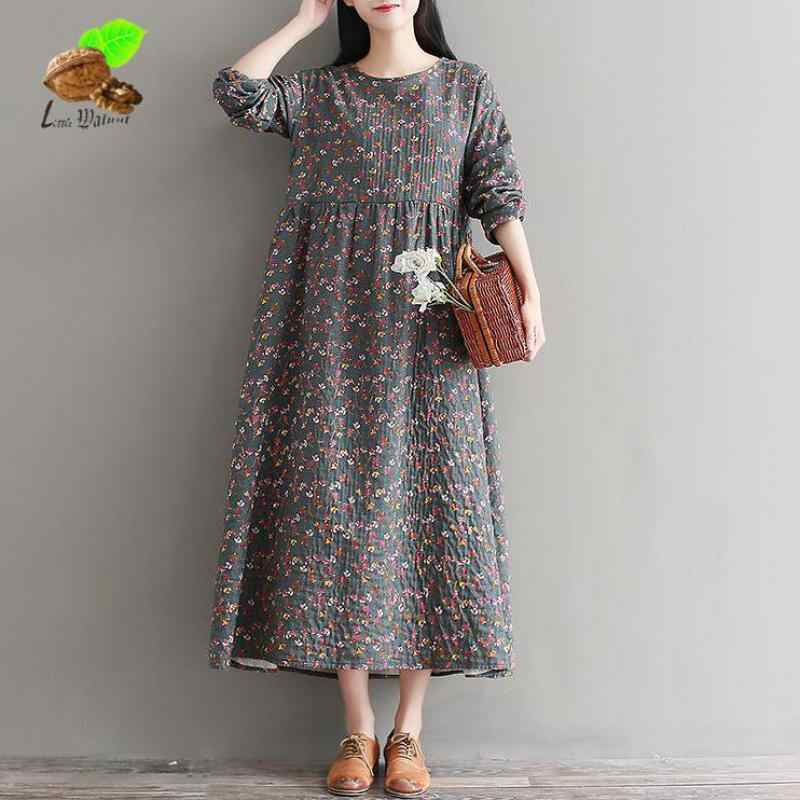 4fb80c3733 2019 New Women Casual Print Floral O-Neck Spring Small Fresh Cotton Linen  Dresses Mori