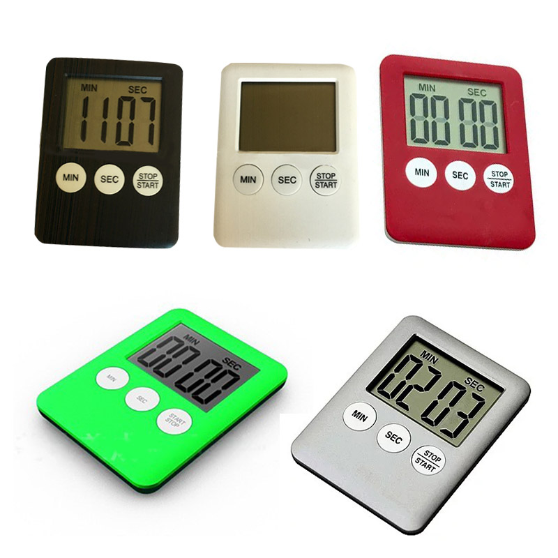 Ultra-thin Digital Kitchen Timer Battery Operated with Magnetic Back LCD Display Minute Second Countdown Time Reminder
