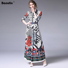 Banulin Elegant Women Long Maxi Runway Dress Summer Autumn Fashion Sleeved Ankle Length Flower Stripe Print Vacation