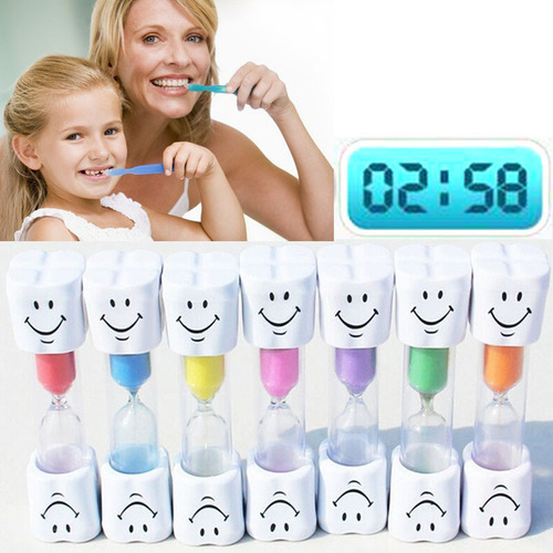 New Sand Clock 3 Minutes Smiling Face The Hourglass Decorative Household Items Kids Toothbrush Timer Sand Clock Gifts 7 Colors image