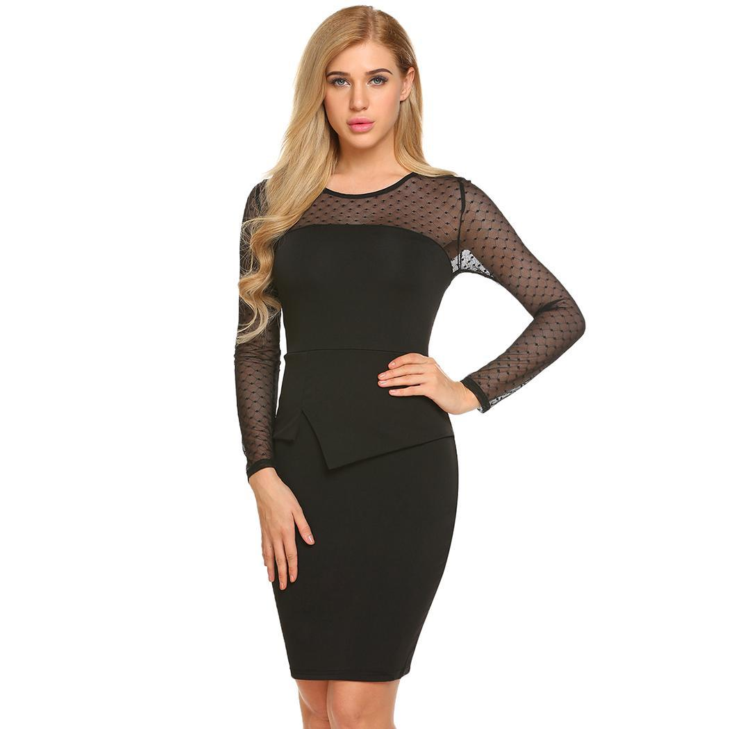 AL'OFA Women Vintage   Cocktail     Dresses   Long Sleeve Mesh Patchwork O Neck Sexy Bodycon Pencil   Dress   Party Gown Robe   Cocktail