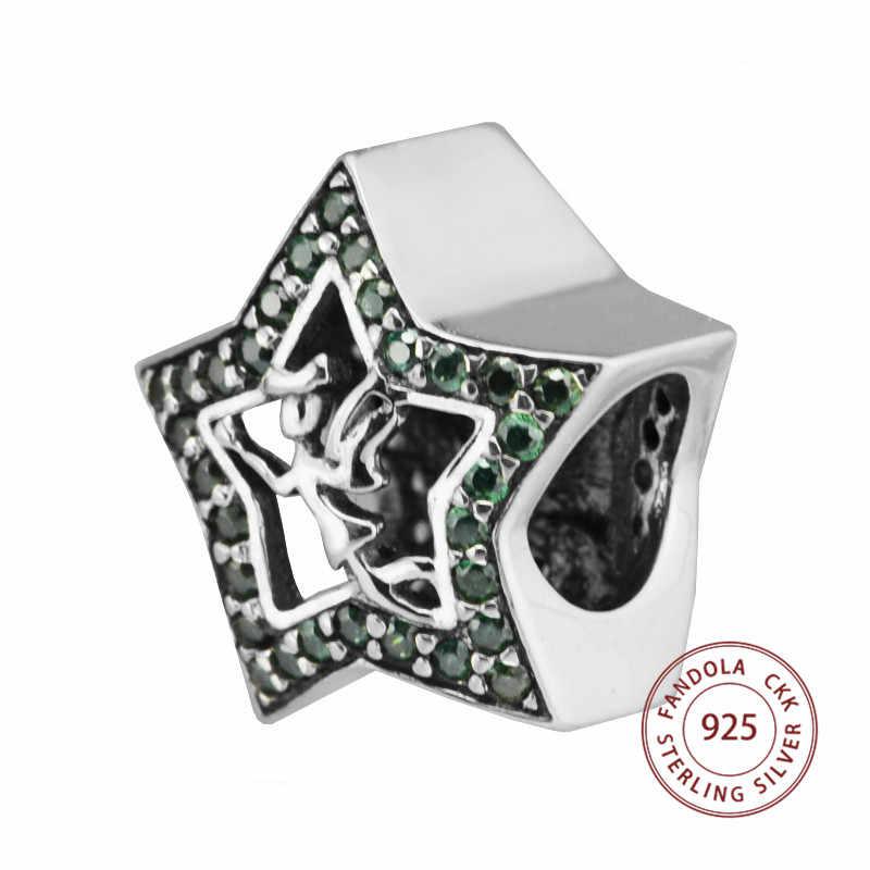 100% 925 Tinker Bell Estrela de Prata Esterlina Grânulos de Charme com Cristais Verdes Serve Pandora Pulseira de Prata 925 Jóias