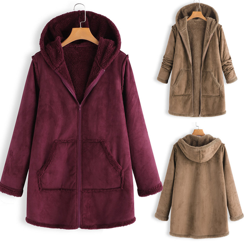 High Quality Hooded Coats Cotton Winter Jacket Womens Outwear Coat Warm Outwear Solid Hooded Pockets Vintage Oversize Coats