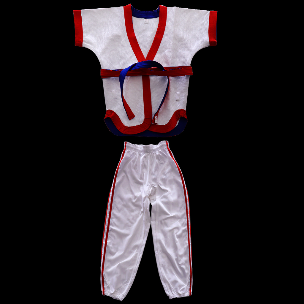 Chinese Wrestling Uniform Cotton Suit Top Clothes Pants Costume Sportswear for Taichi Judo Jitsu Taekwondo Competition Training