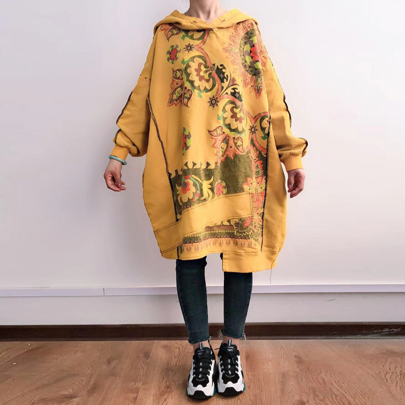 Baggy Hooded Pullovers Women Loose Oversize Hooded Dress Cotton irregular Robe Plus Size Knitted cowboy Long Sleeve Pullovers