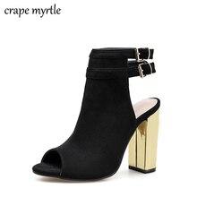 купить Flock Women Sandals Gladiator High Heels Strap Pumps Buckle Strap Shoes Fashion Summer Ladies Square heel Shoes Women YMA652 по цене 1393.84 рублей