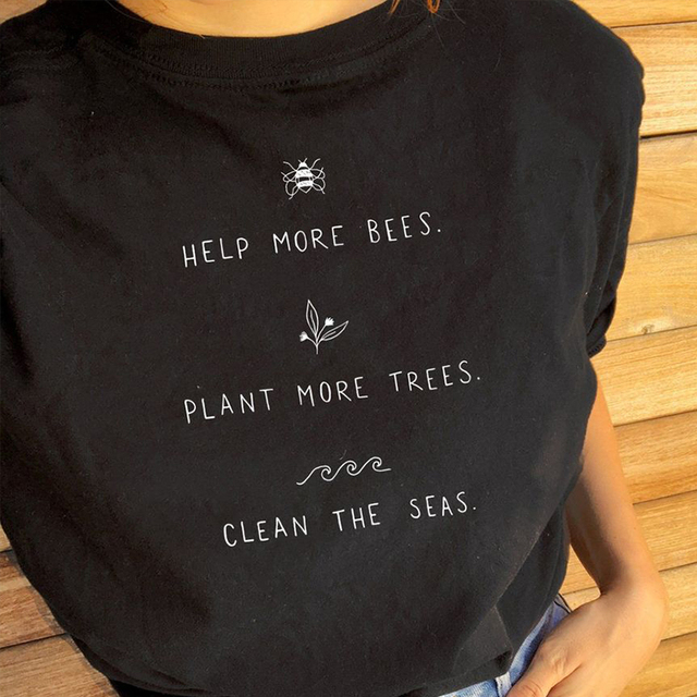 eb21148f Help More Bees Plant More Trees Clean The Seas Print T Shirts Women Short  Sleeve Plus Size Tops Causal Cotton Vegan Shirts Tops