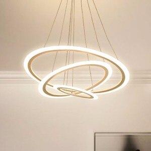 Image 2 - Luz de arañas LED moderna para comedor y sala de estar, luces de lujo, lámpara de suspensión blanca y negra con Control remoto