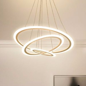 Image 2 - 現代のledシャンデリアダイニングリビングルーム指輪高級光沢時間白黒サスペンションランプとリモコン
