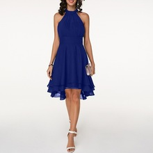Summer Fashion Halter A-Line Dress Women Sleeveless Party Elegant Knee-Length Swing Dresses