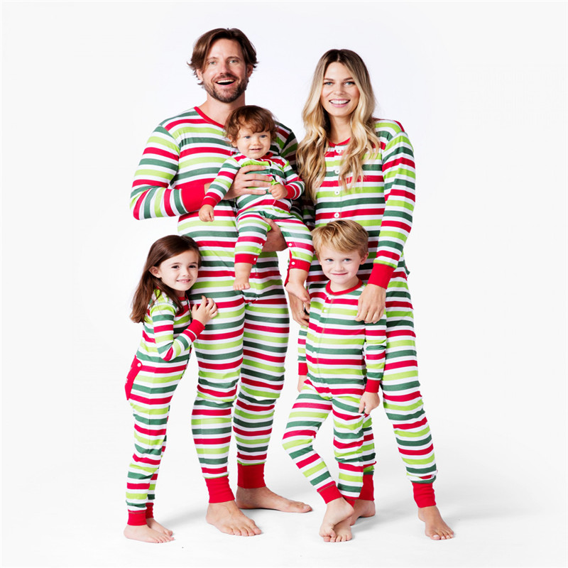 b489b69a56 CANIS Family Christmas Matching Union Suit Pyjamas Clothes Set Striped PJS  One Piece Sleepwear Nightwear Adult
