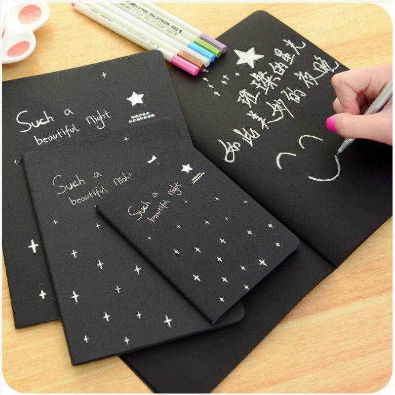 Black Paper 16K 32K 56K Sketchbook Bullet Journal Cute Notebook Paper Weekly Planner Accessories Stationery Diary Agenda 01630