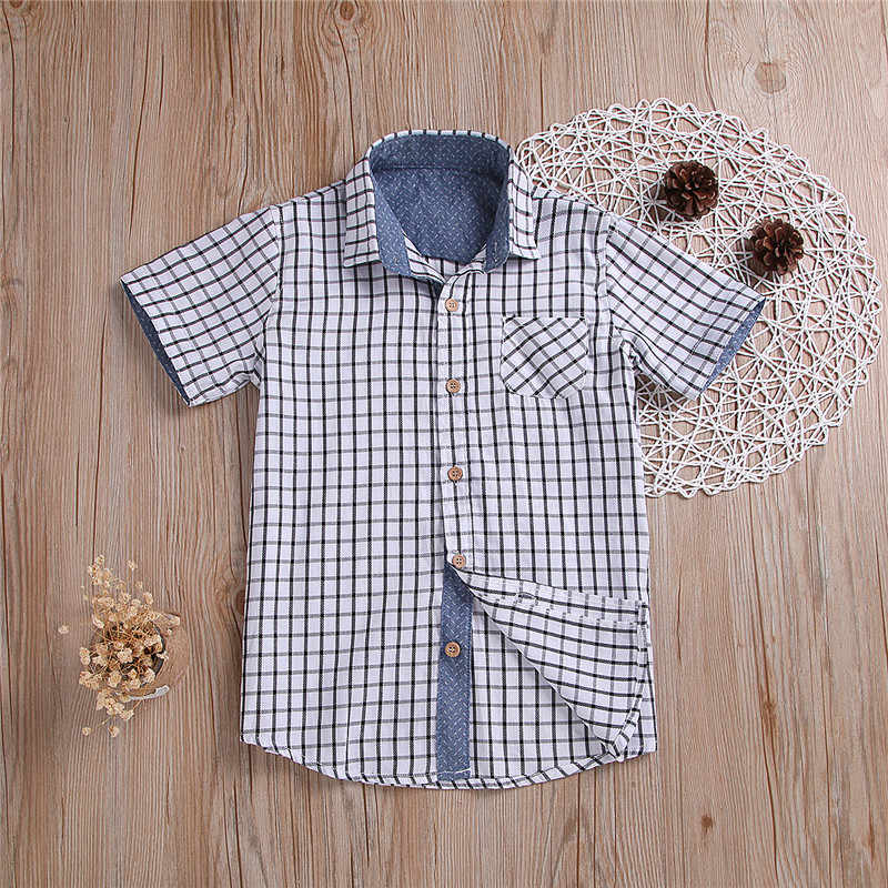 3359631df Toddler Plaid Shirts Summer Outfits Baby boy Short Sleeve Tops Children  Plaid Print Button Shirts Kids